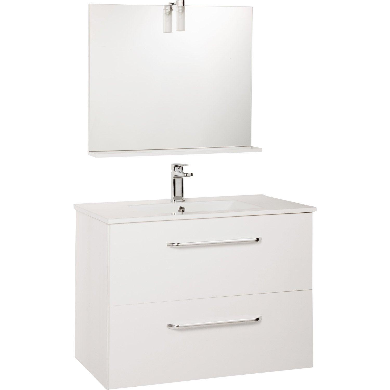Meuble sous vasque DADO 80 cm 2 tiroirs miroir blanc