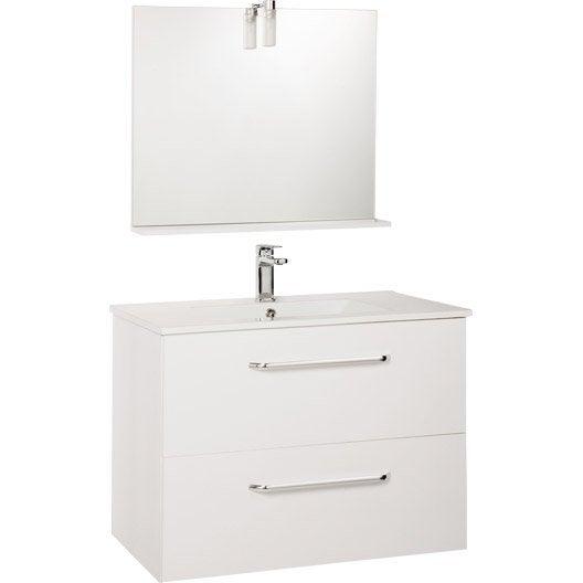 meuble sous vasque dado 80 cm 2 tiroirs + miroir blanc | leroy merlin - Hauteur D Un Miroir De Salle De Bain