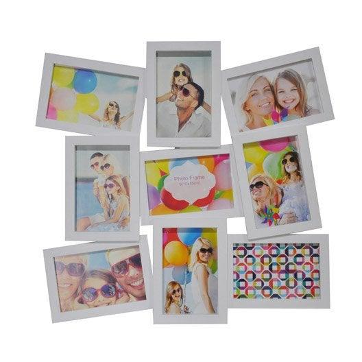 cadre multivue 9 vues 10 x 15 cm blanc leroy merlin. Black Bedroom Furniture Sets. Home Design Ideas