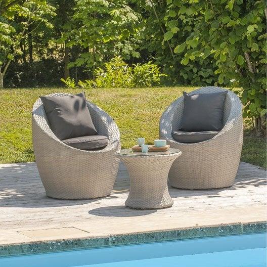 Salon bas de jardin Portovecchio résine tressée gris 2 fauteuils + 1 table basse