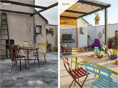 avant apr s une cour l heure espagnole leroy merlin. Black Bedroom Furniture Sets. Home Design Ideas