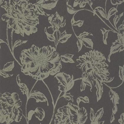 Papier Peint Fleur Gris Anthracite Et Or Intisse Shine Leroy Merlin