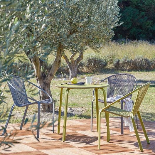 Table de jardin basse naterial veracruz ronde vert 2 personnes cm leroy merlin - Table de jardin ronde robin naterial ...