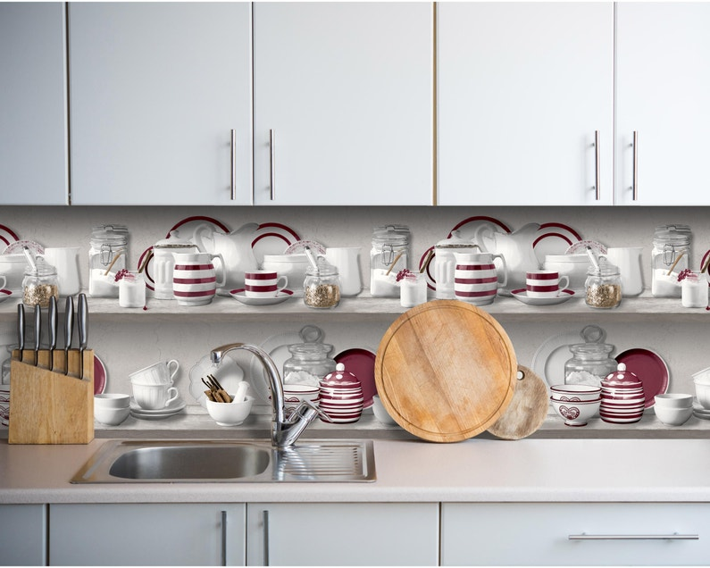 Frise vinyle intissé Horizons Cuisine porcelaine rouge L.10 m x l.53 cm