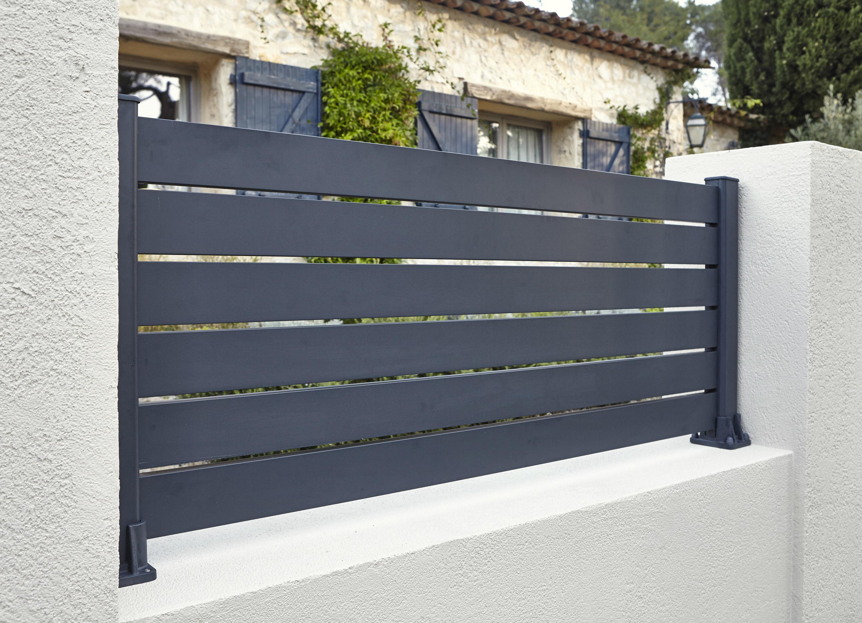 Claustra Alu Leroy Merlin lame de clôture aluminium klos-up ! naterial gris zingué, h.9 x l.145 cm