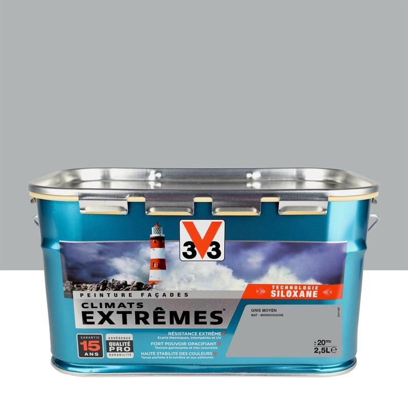 Peinture Façade Climats Extrêmes V33 Gris Moyen 25 L Leroy Merlin