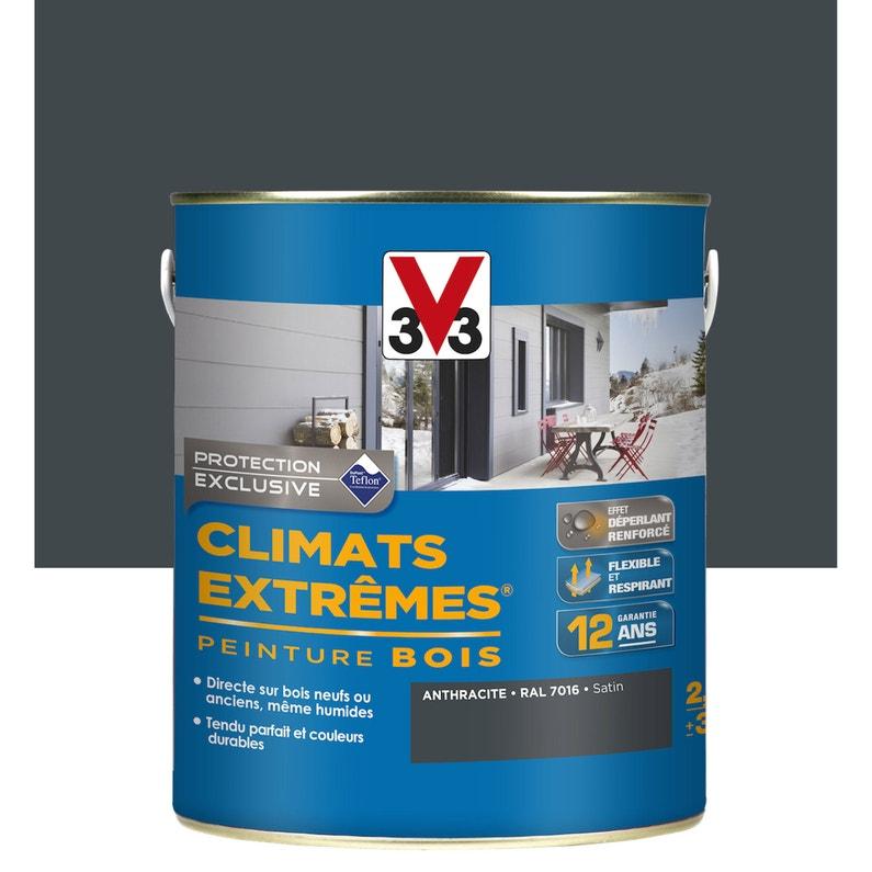 Peinture bois extérieur Climats extrêmes, gris anthracite satin V33 2.5 l