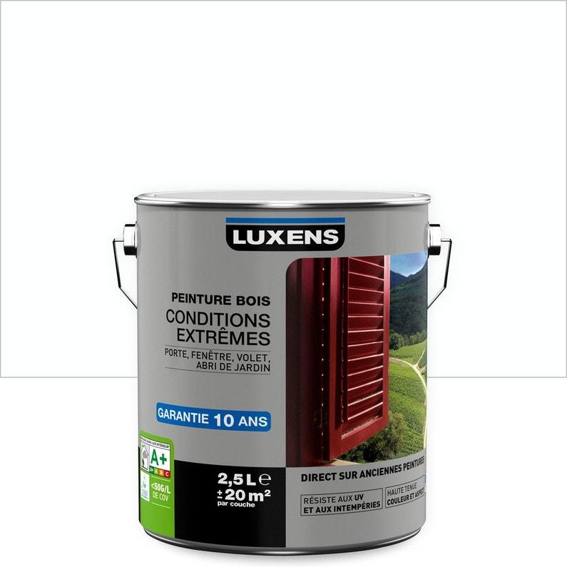 Peinture bois extérieur Conditions extrêmes LUXENS, blanc blanc n°0 ...