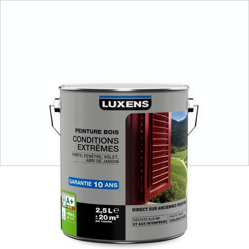 Peinture Bois Extérieur Conditions Extrêmes Luxens Blanc Blanc N0 25 L