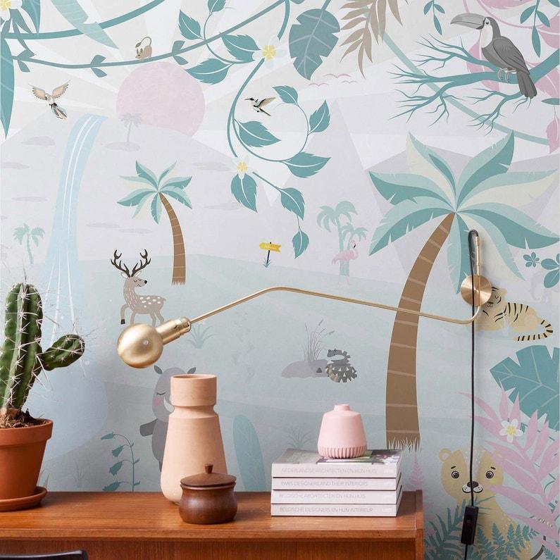 Papier Peint Intissé Smalltalk Tropical Dream Vert Pastel