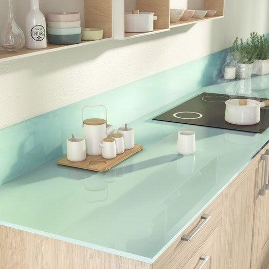 Plan de travail sur mesure verre laqu eau marine mm leroy merlin - Plan de travail en verre trempe ...