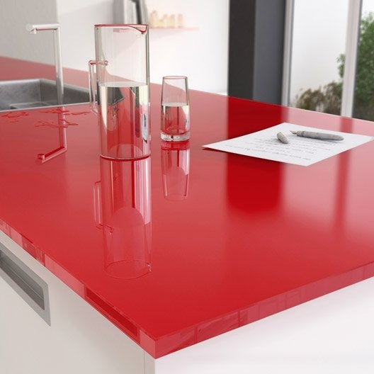 plan de travail sur mesure verre laqu rubis mm leroy merlin. Black Bedroom Furniture Sets. Home Design Ideas