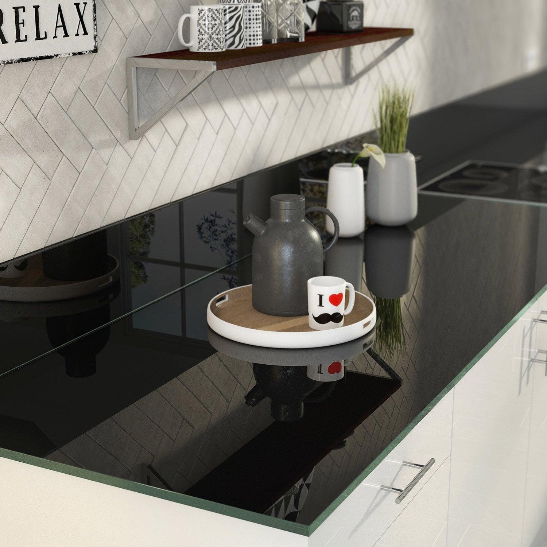 plan de travail sur mesure verre laqu noir mm. Black Bedroom Furniture Sets. Home Design Ideas