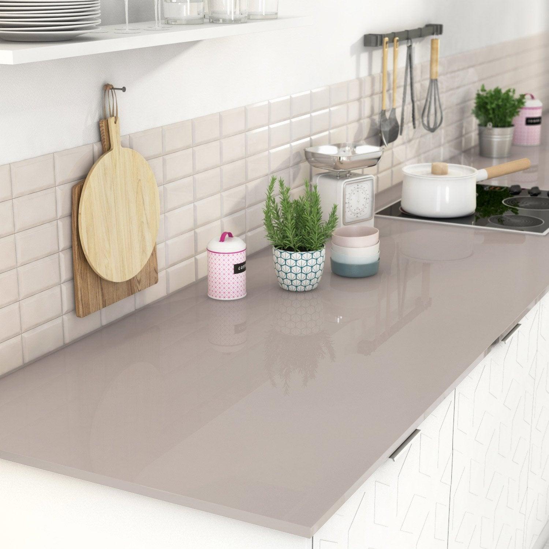 plan de travail sur mesure verre laqu brun taupe mm leroy merlin. Black Bedroom Furniture Sets. Home Design Ideas