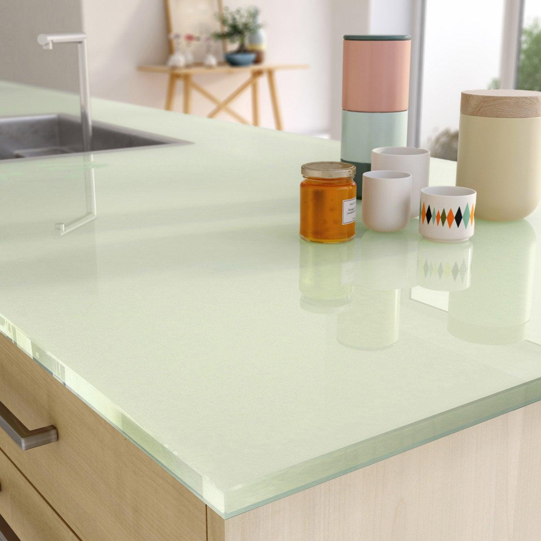 plan de travail sur mesure verre laqu vert mm. Black Bedroom Furniture Sets. Home Design Ideas