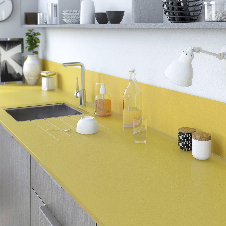 Plan De Travail 15 plan de travail sur-mesure verre laqué jaune anis, ep.15 mm