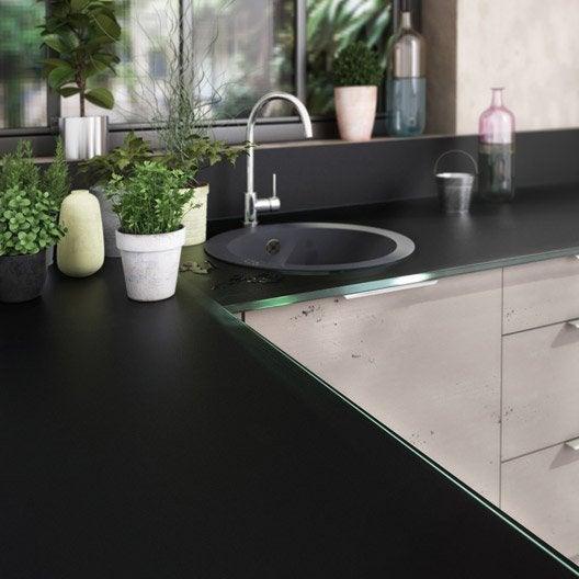 plan de travail sur mesure verre laqu noir mm leroy merlin. Black Bedroom Furniture Sets. Home Design Ideas