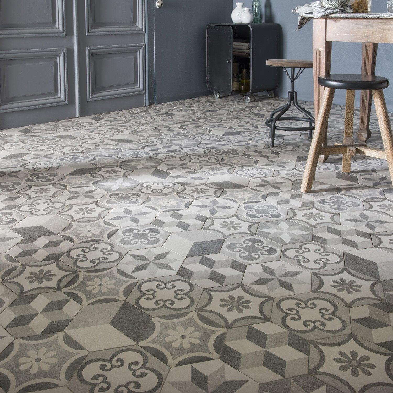 Carrelage sol et mur gris blanc effet béton Time l.40.40 x L.401 cm ... - Carrelage Hexagonal Sol