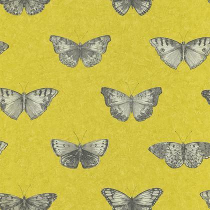 Papier Peint Papillons Jaune Intissé Street Art