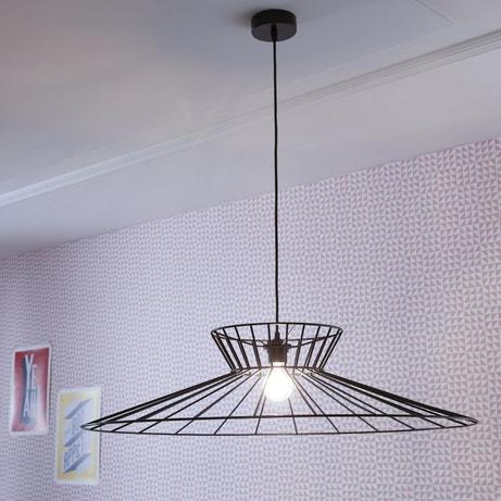 Le luminaire filaire noir associé au papier peint graphique