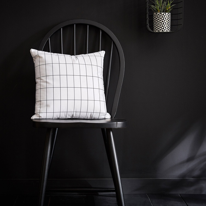 Coussin Edgar, blanc et noir l.40 x H.40 cm