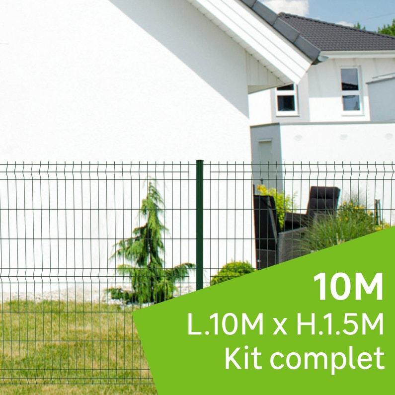 Kit Grillage Rigide 10 M à Sceller Naterial Vert H15 M