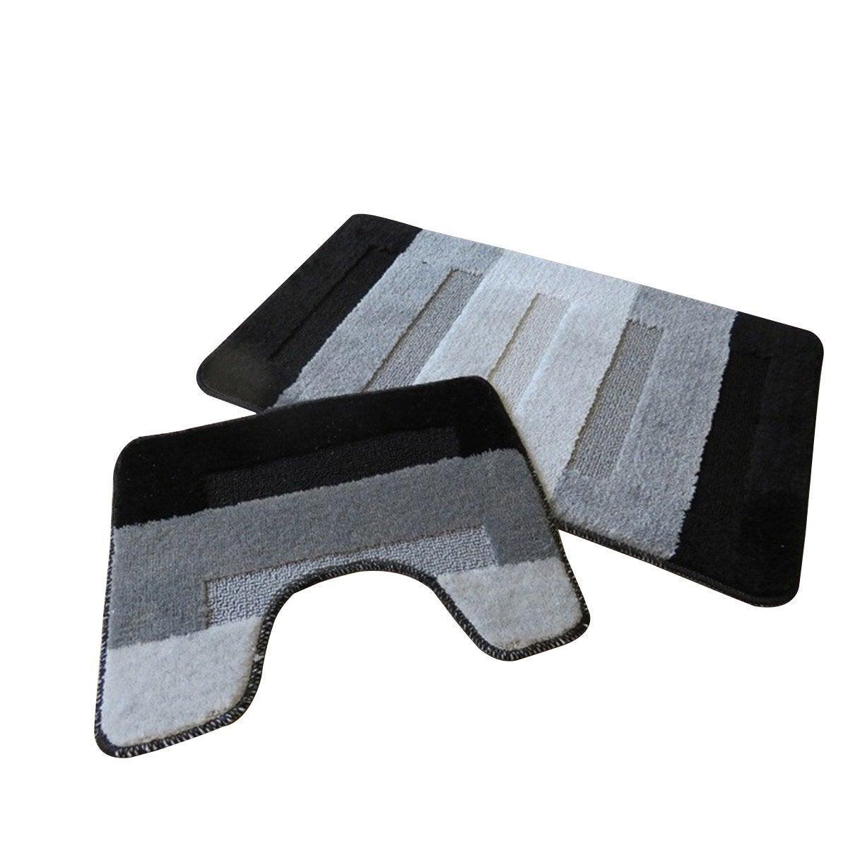 Tapis salle de bain et WC, l.50 x L.80 cm, rayé gris et noir