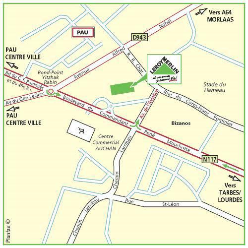 Plan d'accès au magasin Leroy Merlin de Toulouse (roques-sur-garonne)