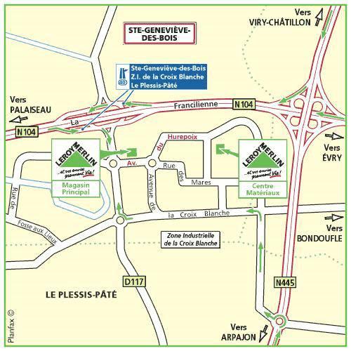 Plan d'accès au magasin Leroy Merlin de Vitry sur seine