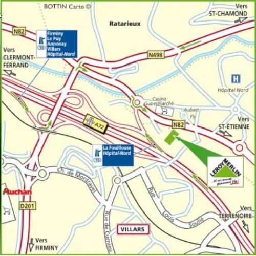 Plan d'accès au magasin Leroy Merlin de Lyon (bron)