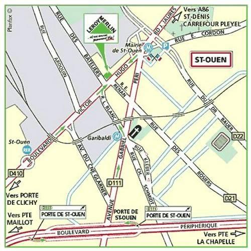 Plan d'accès au magasin Leroy Merlin de Nanterre