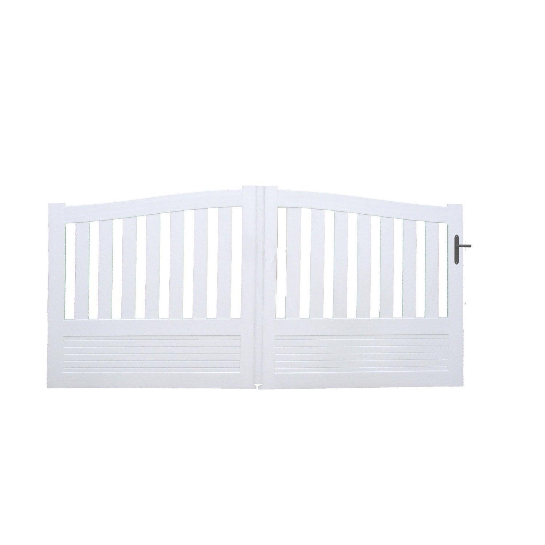 portail coulissant pvc questembert blanc naterial cm x cm leroy merlin. Black Bedroom Furniture Sets. Home Design Ideas