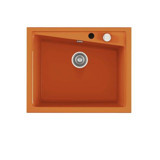 Evier encastrer quartz et r sine orange kuma 1 cuve for Evier resine 1 cuve