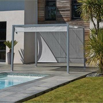Pergola autoportante venezia, acier et aluminium gris anthracite, 9 m²