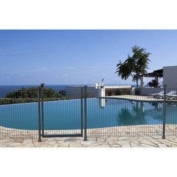 Panneau barrière pour piscine acier gris, H.131 x l.198 cm