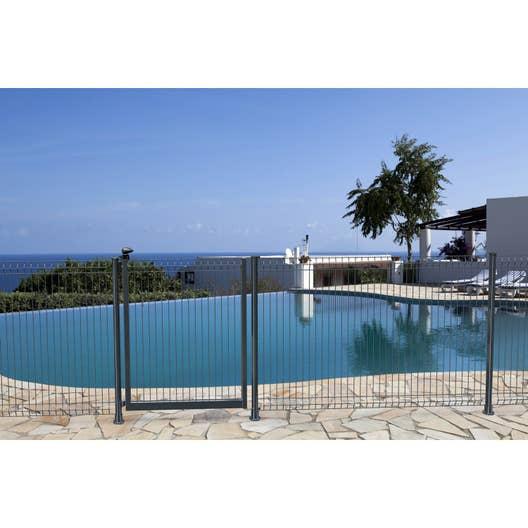 poteau barri re pour piscine acier gris h 1 4 x cm leroy merlin. Black Bedroom Furniture Sets. Home Design Ideas