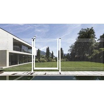Portillon pour piscine acier blanc, H.131 x l.198 cm