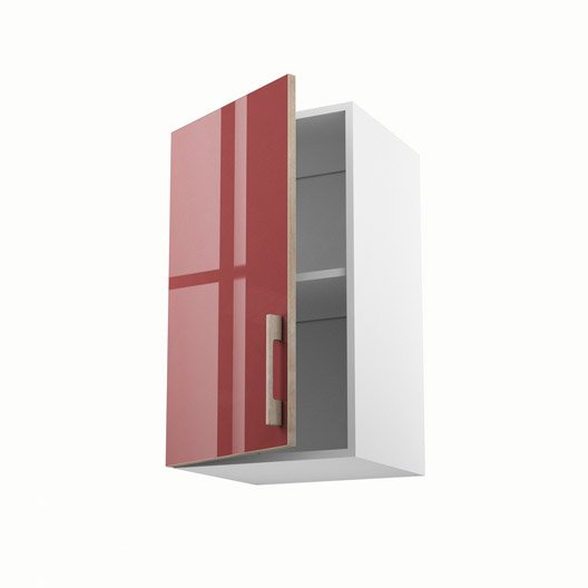 Meuble de cuisine haut rouge 1 porte grenade x x Agencement cuisine meuble haut 40 cm hauteur