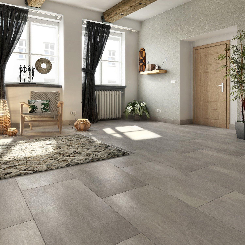 embellir son salon avec un grand carrelage gris aspect. Black Bedroom Furniture Sets. Home Design Ideas
