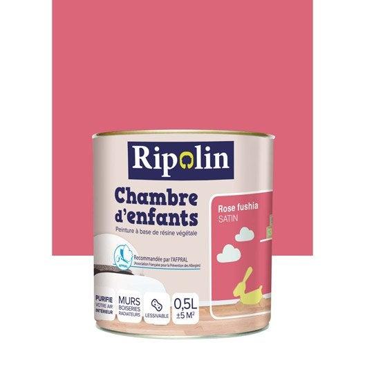 Peinture rose fushia ripolin chambre d 39 enfants 0 5 l leroy merlin - Peinture ripolin avis ...