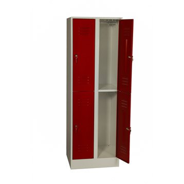 armoire vestiaire m tal quadruple superpos coloris rouge jds 180x60x49cm. Black Bedroom Furniture Sets. Home Design Ideas