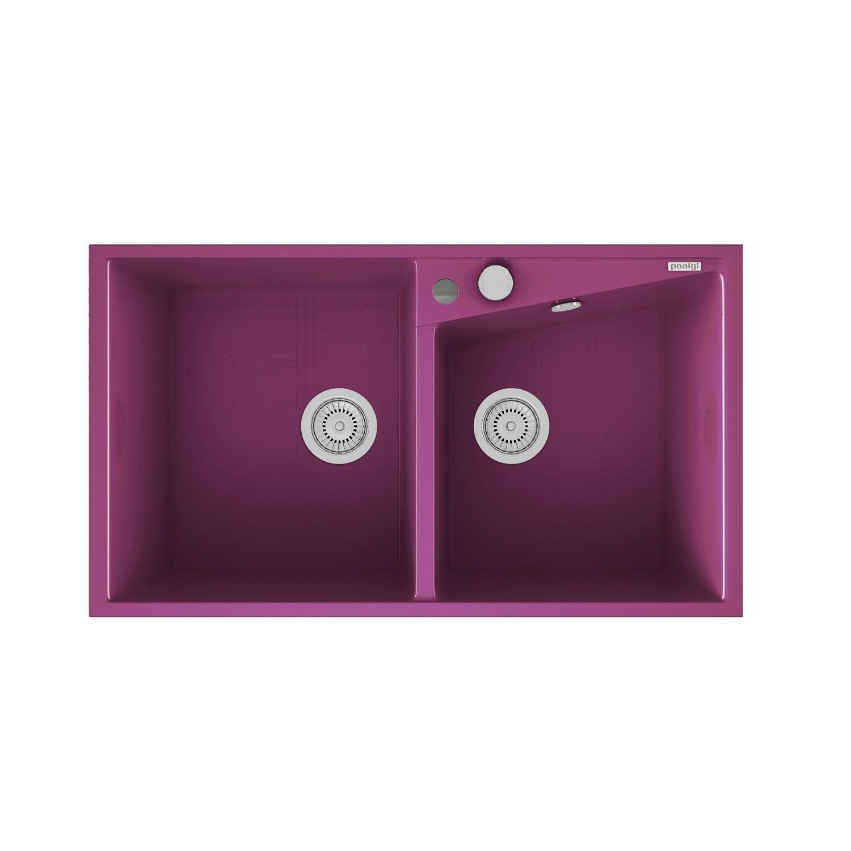 Evier  encastrer quartz et résine violet Kuma 2 bacs