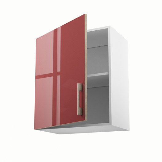 Meuble de cuisine rouge delinia grenade leroy merlin for Meuble porte rouge