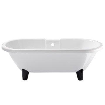 baignoire lot l175x l80 cm blanc charleston pieds noir fournis - Baignoire Sur Pieds