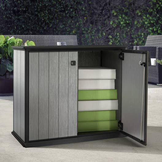 armoire de jardin r sine patio aspect bois bross x. Black Bedroom Furniture Sets. Home Design Ideas