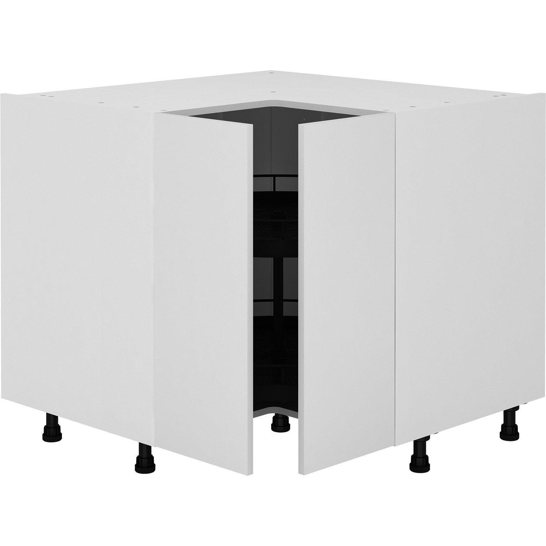 Meuble Bas De Rangement Pour Cuisine meuble bas d'angle de cuisine sofia blanc, 2 portes h.77 l.97 cm x p.97 cm