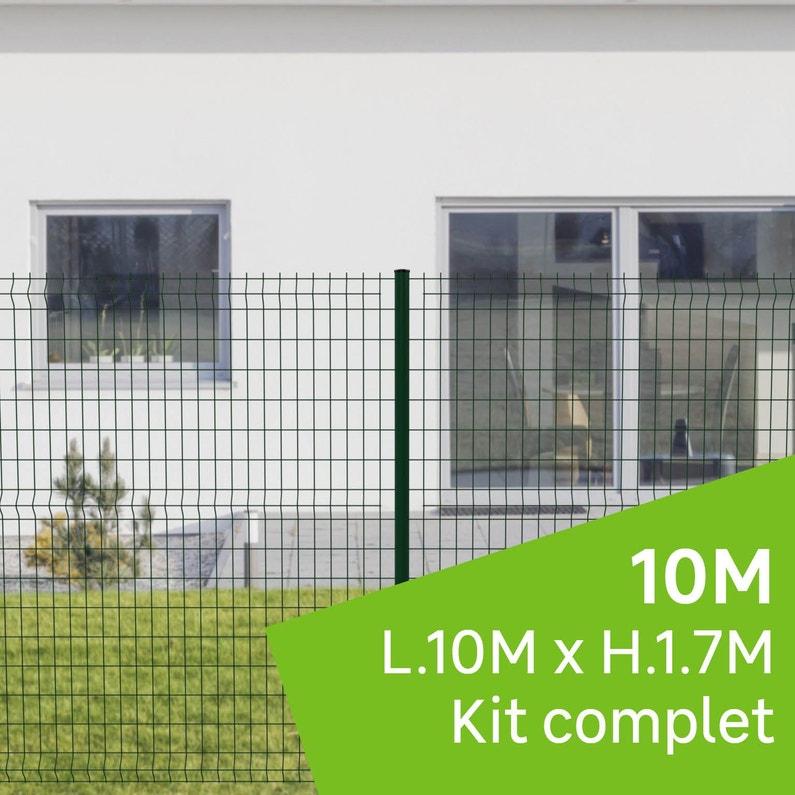 Kit Grillage Rigide 10 M Sur Platine Cerista Vert H17 M