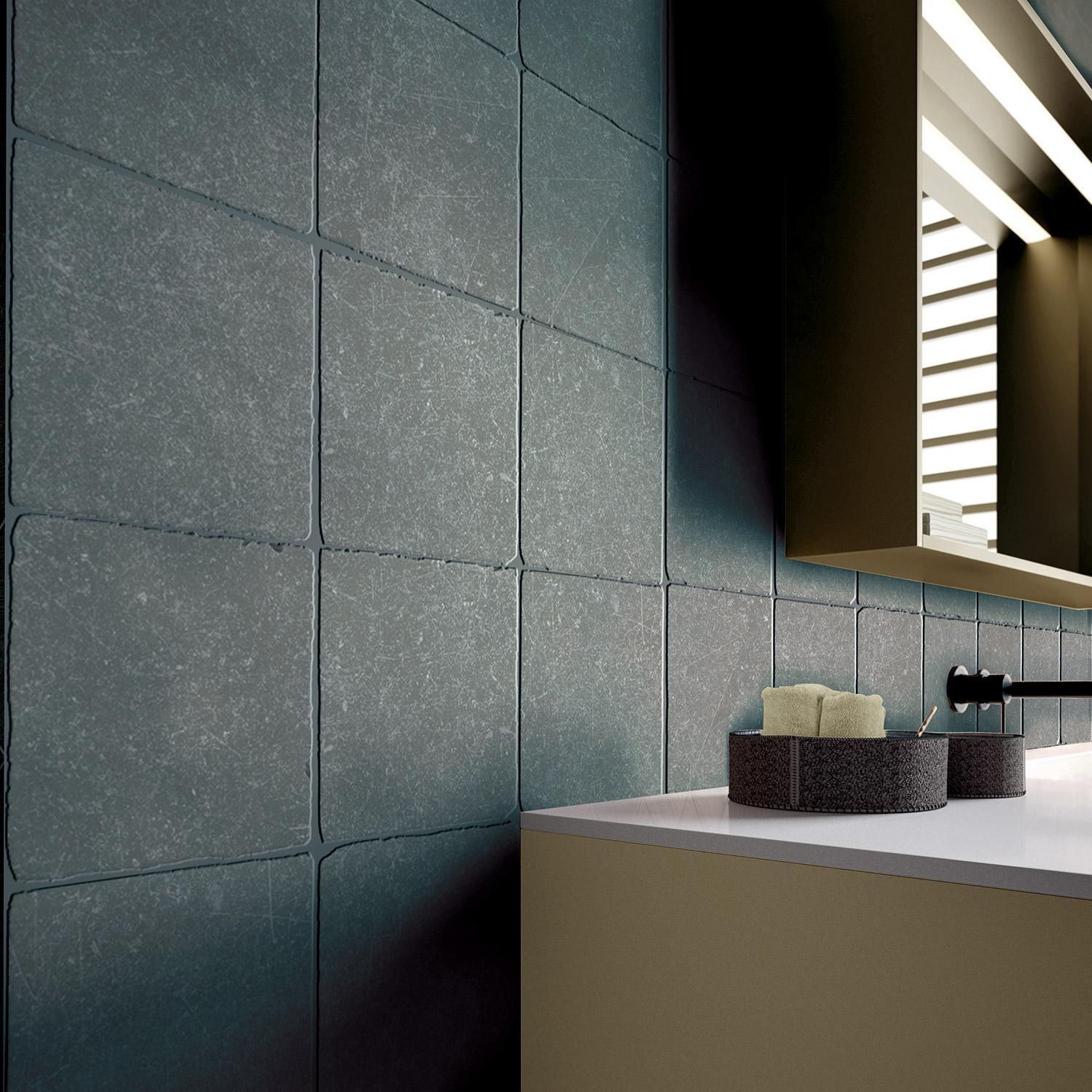 Carrelage sol et mur intenso effet pierre noir Cassel l.20 x L.20 cm ARIANA