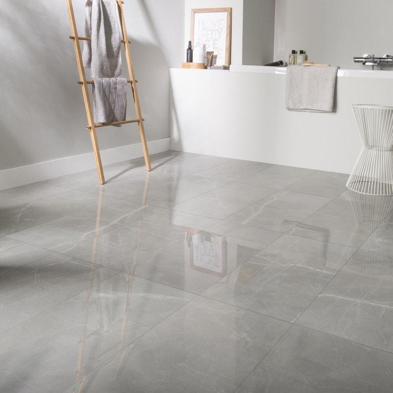 Croissant Carrelage sol et mur gris effet marbre Rimini l.30 x L.60 cm DF-63