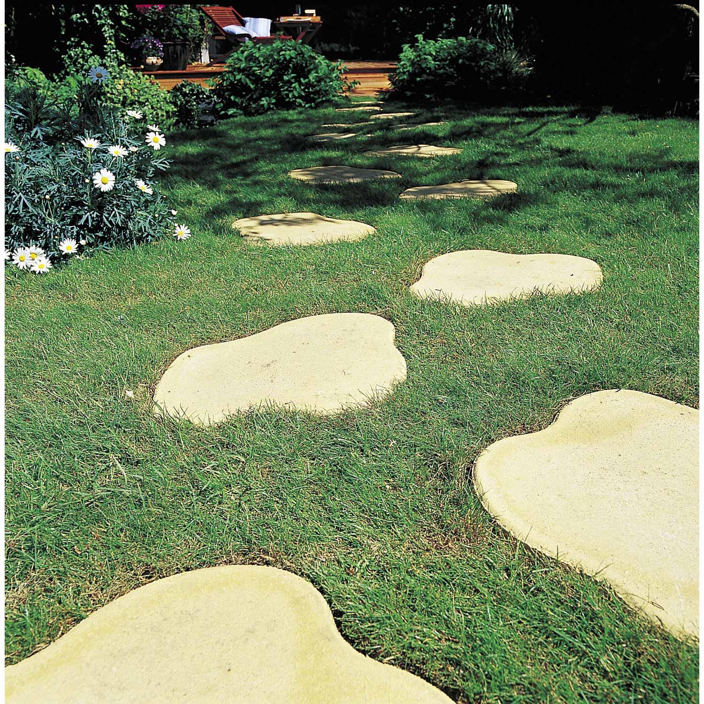 Allée En Pas Japonais pas japonais pétale en pierre reconstituée ton pierre, l.45 x l.35 x ep.3 cm